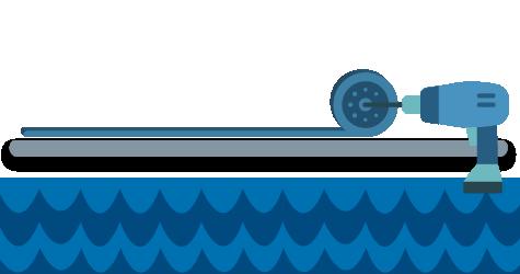 Esquema de cubierta de piscina semiautomática